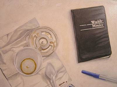 Ball Point Pen Painting - Mid-morning Coffee by Nigel Wynter