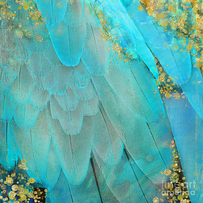 Macaw Digital Art - Mid-summer Magik Colorful Feather Fantasy Art, Gold Sparkles by Tina Lavoie