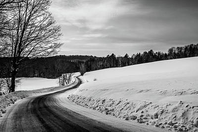 Photograph - Mid-winter Road B-w by Tim Kirchoff