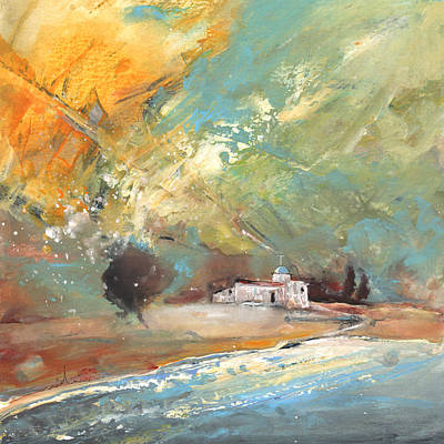 Spanish Town Painting - Midday 15 by Miki De Goodaboom
