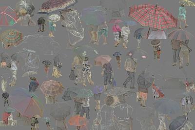 Middelkerke Umbrellas Art Print by Dominique De Leeuw