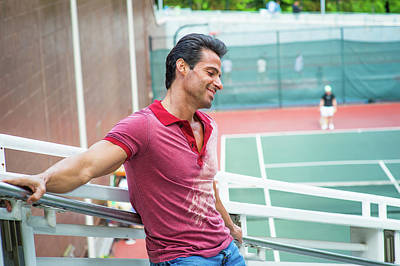 Photograph - Middle Age Strong, Health American Man Thinking By Tennis Court  by Alexander Image