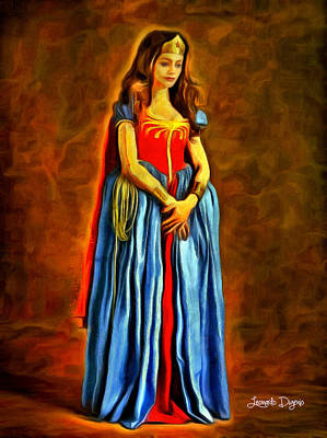 Books Painting - Middle Ages Wonder Woman by Leonardo Digenio