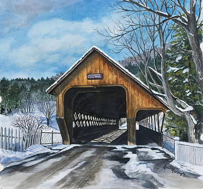 Snow Covered Ground Painting - Middle Bridge by Lucille R Major