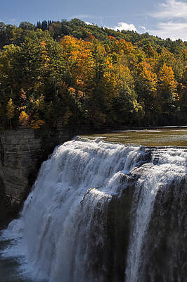 Landscape Photograph - Middle Falls Letchworth by Louise Heusinkveld
