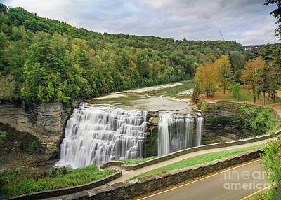 Photograph - Middle Falls Of Letchworth From Glen Iris by Karen Jorstad
