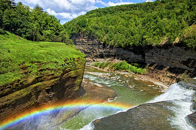 Photograph - Middle Falls Rainbow In Letchworth by Carolyn Derstine