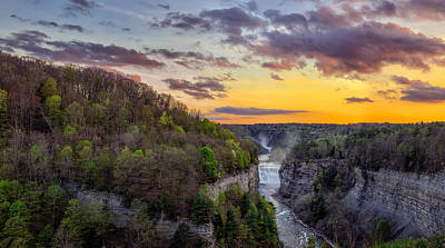 Photograph - Middle Falls Sunset by Mark Papke