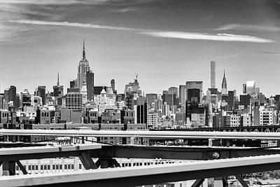 Vintage Diner Cars Royalty Free Images - Middle Manhattan Monotone Skyline Royalty-Free Image by Robert VanDerWal