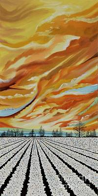 Painting - Middle Panel Cotton Field Triptych by Terry  Hester