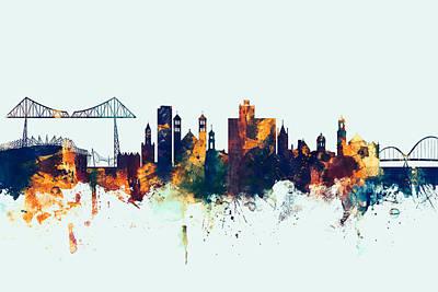 Great Britain Digital Art - Middlesbrough England Skyline by Michael Tompsett