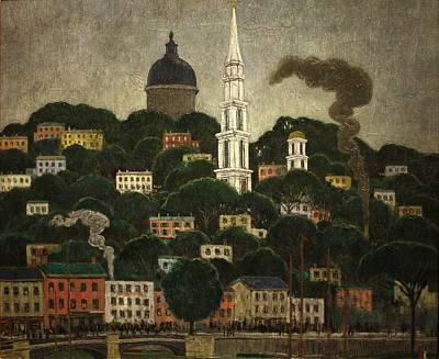 Middleton Painting - Middleton Manigault - A New England Town 1911 by Celestial Images
