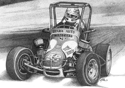Racecar Drawing - Midget Car Pointillism Drawing by Mike Oliver