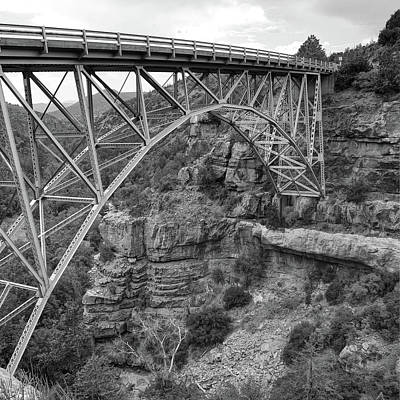 Photograph - Midgley Bridge In Sedona Arizona Black And White - 1x1 by Gregory Ballos