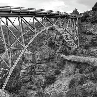 Photograph - Midgley Bridge In Sedona Arizona Black And White - 1x1 by Gregory Ballos