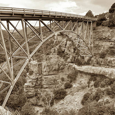 Photograph - Midgley Bridge In Sedona Arizona Sepia - 1x1 by Gregory Ballos
