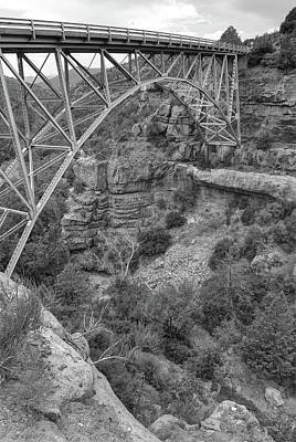 Photograph - Midgley Bridge - Oak Creek Canyon In Sedona Arizona Black White by Gregory Ballos