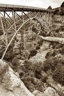 Photograph - Midgley Bridge - Oak Creek Canyon In Sedona Arizona Sepia by Gregory Ballos