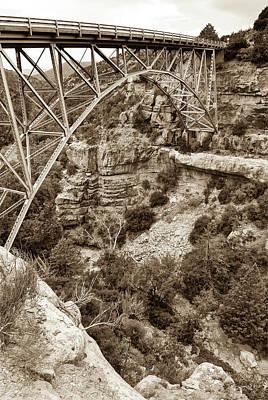 Photograph - Midgley Bridge - Oak Creek Canyon In Sedona Arizona Sepia by Gregory Ballos