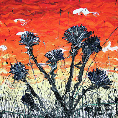Painting - Midnight Asters Opening At Sunset by Ric Bascobert