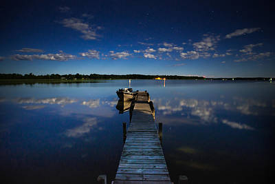 Midnight At Shady Shore On Moose Lake Minnesota Print by Alex Blondeau