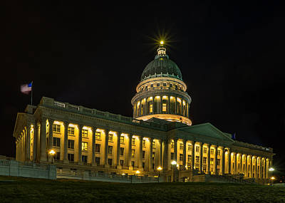 Photograph - Midnight At The Utah State Capitol by TL  Mair