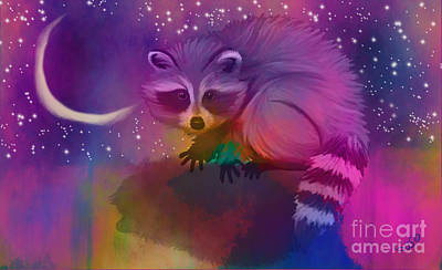 Raccoon Digital Art - Midnight Bandit by Nick Gustafson