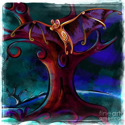 Spooky Mixed Media - Midnight Bat by Peter Awax