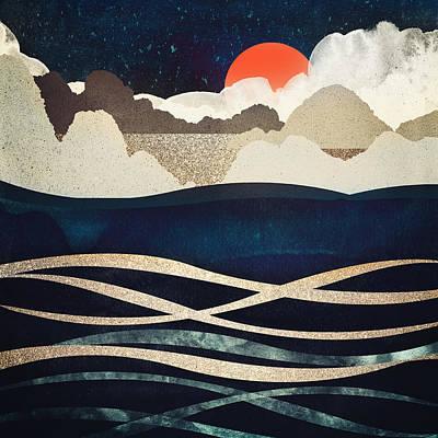 Abstract Beach Landscape Digital Art - Midnight Beach by Spacefrog Designs