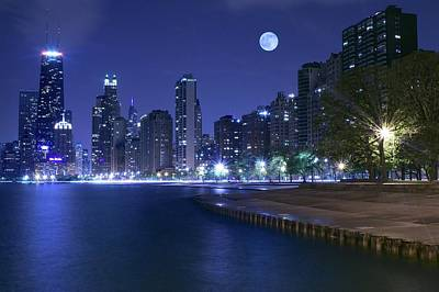Photograph - Midnight Blue In The Windy City by Frozen in Time Fine Art Photography
