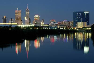 White River Photograph - Midnight Blue Indy Skyline by Frozen in Time Fine Art Photography