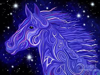 Fantasy Drawings - Midnight Blue Mustang by Nick Gustafson