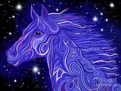 Fantasy Art Drawing - Midnight Blue Mustang by Nick Gustafson