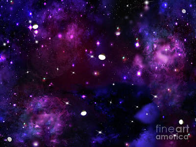 Midnight Blue Purple Galaxy Art Print