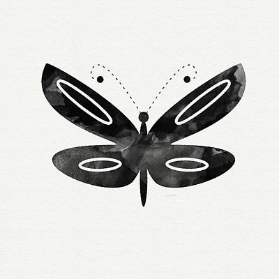 Black And White Art Mixed Media - Midnight Butterfly 1- Art By Linda Woods by Linda Woods