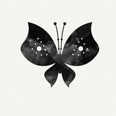 Simpler Mixed Media - Midnight Butterfly 2- Art By Linda Woods by Linda Woods