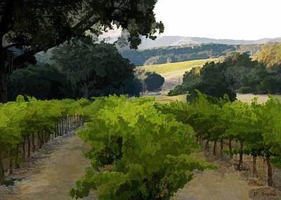 Vineyard Digital Art - Midnight Cellars Vineyard by Patricia Stalter