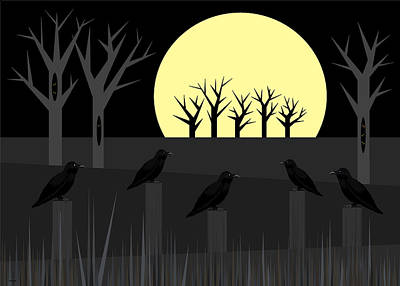 Digital Art - Midnight Conversation With Five Crows by Val Arie