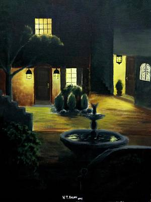Spanish Villa Painting - Midnight Courtyard by Travis  Ragan