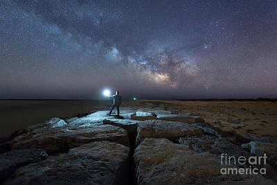 Michael Versprill Photograph - Midnight Explorer At The Barnegat Jetty  by Michael Ver Sprill