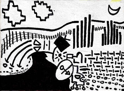 Midnight Farm Original Black Ink On White Canvas By Ricardos Original by Ricardos Creations