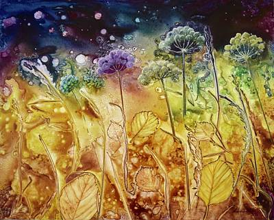 Painting - Midnight Flowers by Nancy Jolley
