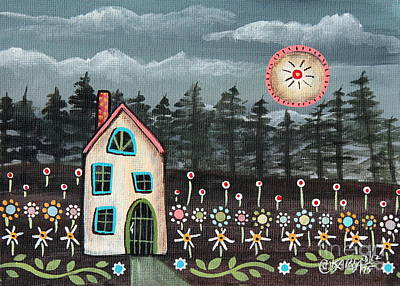 Folk Art Flowers Painting - Midnight Garden by Karla Gerard