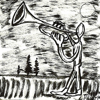 Drawing - Midnight Horn by Mario MJ Perron