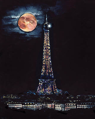 Big Moon Painting - Midnight In Paris by Laura Row