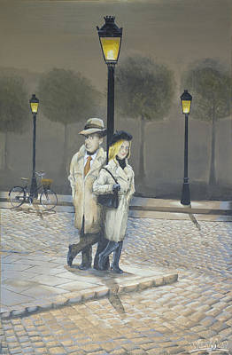 Night Lamp Painting - Midnight In Paris by Winton Bochanowicz