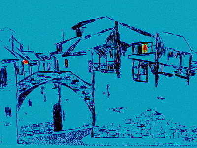 Drawing - Midnight In Tuscany by Bill OConnor