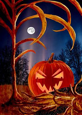 Painting - Midnight Jack-o-lantern by Ron Chambers