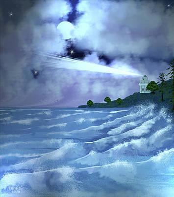 Digital Art - Midnight Lighthouse by Artful Oasis