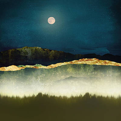 Abstract Landscape Royalty-Free and Rights-Managed Images - Midnight Moonlight by Katherine Smit